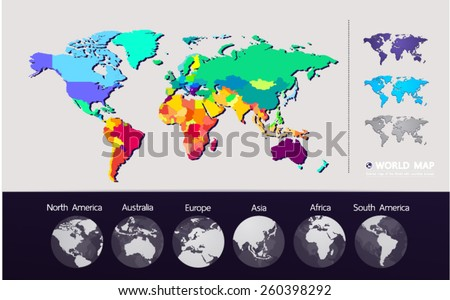 Colored map of the World vector - stock vector