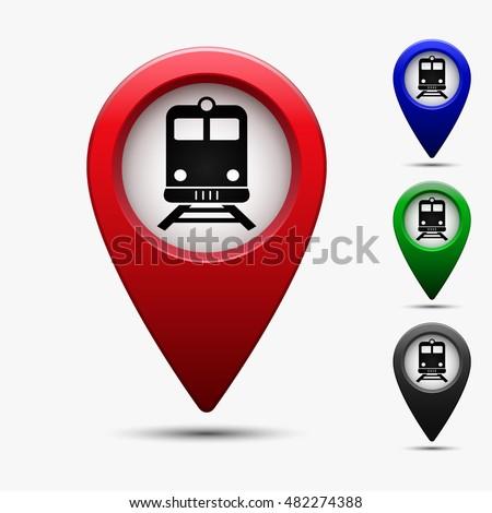 Colored Map Pointer Symbol Train Subway Stock Vector 2018