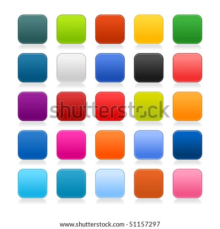 Colored matted blank rounded squares buttons with gray reflection on white