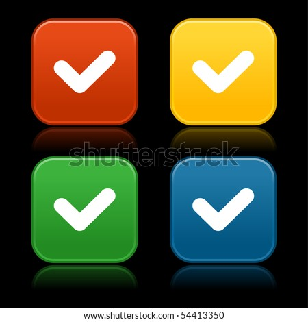 Colored matted web 2.0 buttons with check symbol and reflection on black background - stock vector