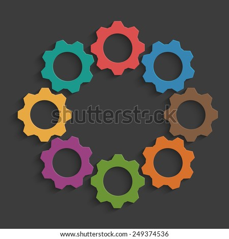 Colored mechanism of gears on taupe background - stock vector