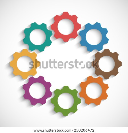 Colored mechanism of gears on white background - stock vector