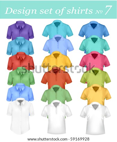 Colored men and women polo and t-shirts. Photo-realistic vector illustration. - stock vector