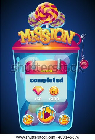 Colored mission completed window for web site or app graphics and design.  For newspapers, magazines, web design, websites, printing - stock vector