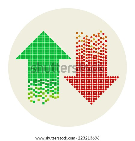 colored mosaic arrows composed from dots and pixel blocks, vector illustration - you can change color of every element - stock vector