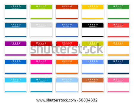 Colored name tag sticker set with shadow on white - stock vector