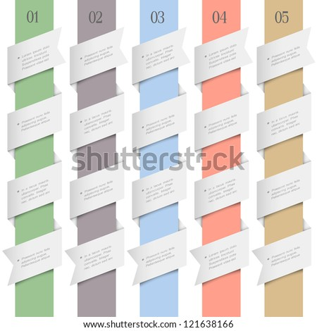 Colored numbered banners in origami style.Vector design template - stock vector