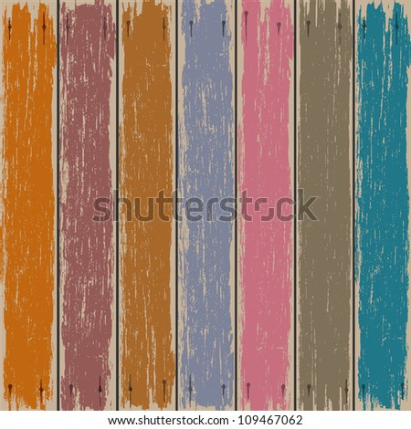 Colored old wooden fence. Vector background - stock vector