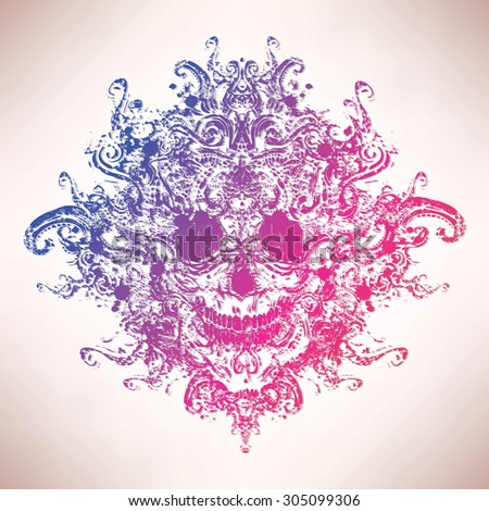 Colored ornate skull - stock vector