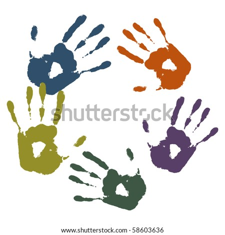 colored palm prints - stock vector