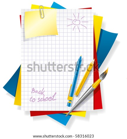 colored paper and pens, back to school background - stock vector