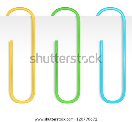 Colored paper clips, vector eps10 illustration - stock vector