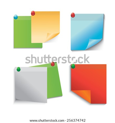 Colored paper notes - stock vector