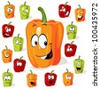 Colored paprika (pepper) cartoon with many expressions isolated on a white background - stock vector