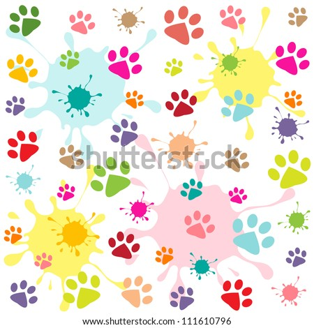 colored pattern with paw prints and blots - stock vector