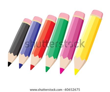Colored Pencil Illustration - stock vector