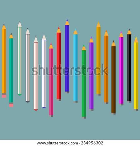 Colored pencil set, colored pen set, graphite pencil with eraser in a row. Flat designer creativity concept icon. - stock vector
