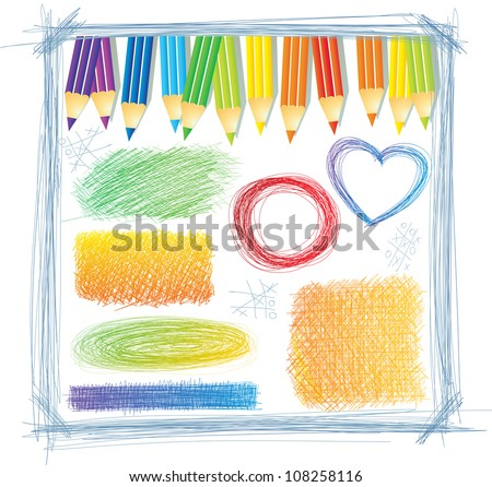Colored pencils with scratch drawings - stock vector