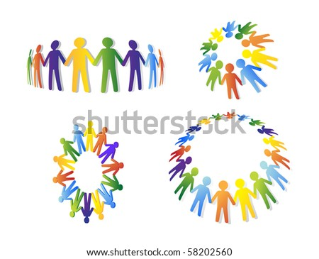 Colored people. Team and union metaphor - stock vector