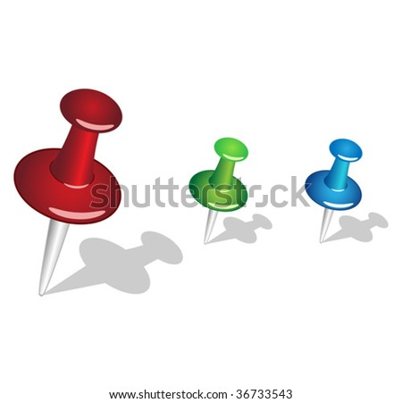 Colored pins - stock vector