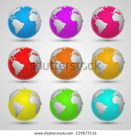 colored planet earth - stock vector