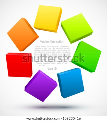 Colored plates 3D logo. - stock vector