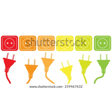 Colored plugs and sockets as energy efficiency concept - stock vector