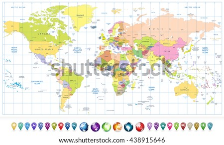 Colored political World Map and 3D globes with navigation icons isolated on white.All elements are separated in editable layers clearly labeled. - stock vector