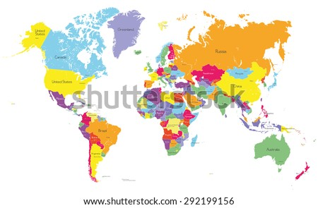 Colored political world map with country names and capital cities - stock vector
