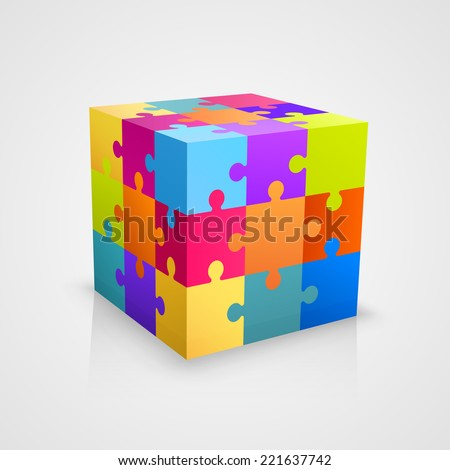 Colored puzzle cube. Vector illustration - stock vector