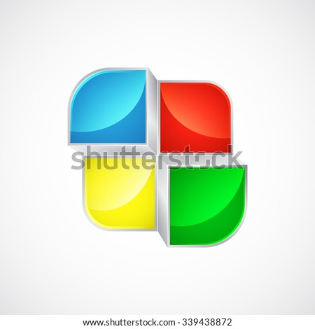 colored puzzle icon or button