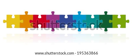 colored puzzle pieces in series - stock vector