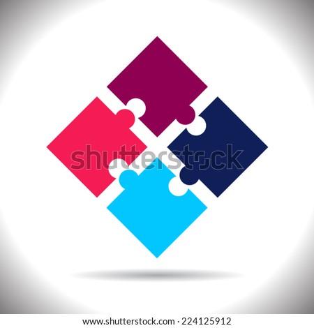 Colored puzzles concept. Infographic. Business - stock vector
