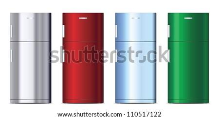 Colored refrigerators set - stock vector