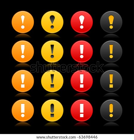 Colored round warning icon web 2.0 button attention sign with exclamation mark symbol and reflection on black background - stock vector
