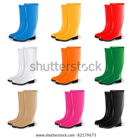 Colored rubber boots vector set - stock vector