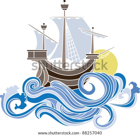Colored sailing vessel in art nouveau style. stencil - stock vector