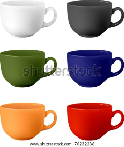 colored set mugs vector illustration - stock vector