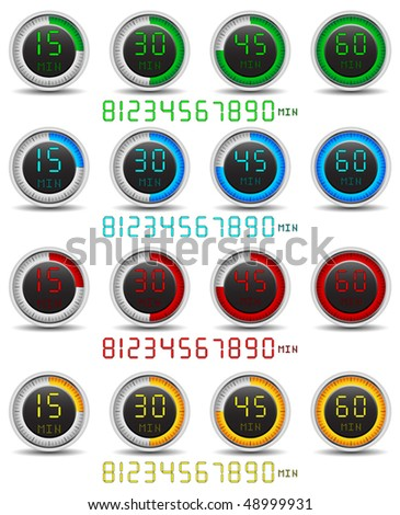 Colored set of digital timers - stock vector