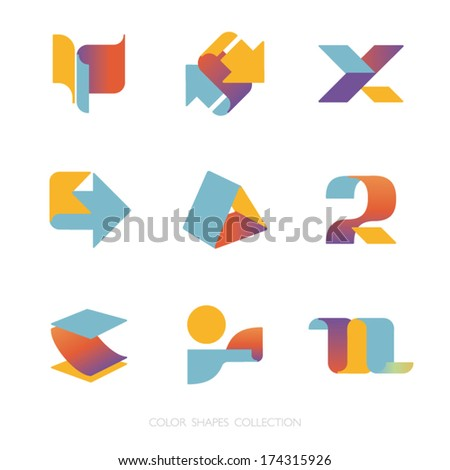 Colored shapes collection. Vector icon set. Logo template. - stock vector