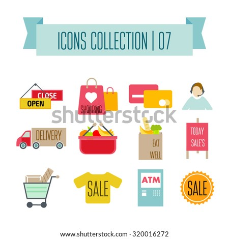 Colored Shopping Icons. Marketing and distribution, choices and transportation - stock vector