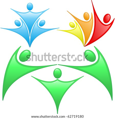 Colored silhouettes of people in a team and family - stock vector
