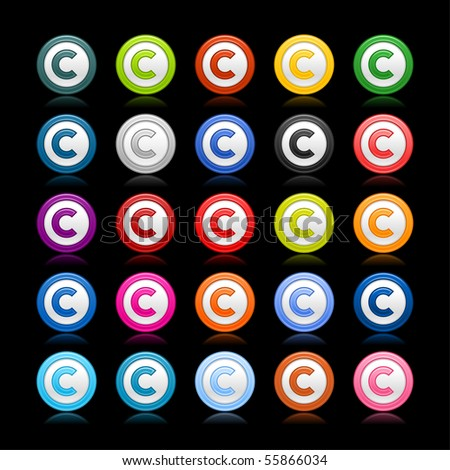 Colored smooth web 2.0 copyright buttons with reflection on black background - stock vector