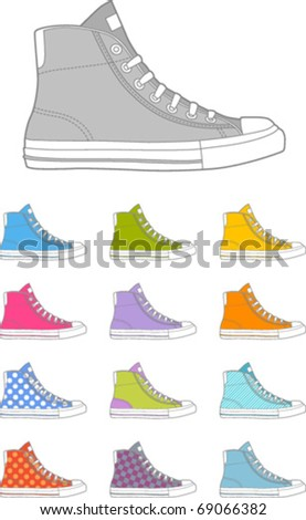 colored sneakers - stock vector
