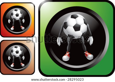 colored soccer ball man web button