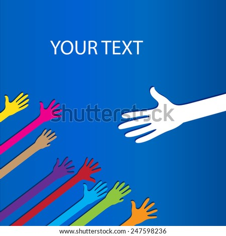 Colored social hands up donation  - stock vector