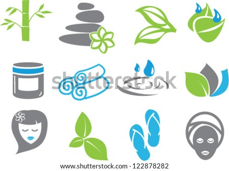 colored spa icons - stock vector