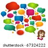Colored Speech Bubbles and Girl Avatar - stock