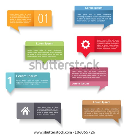 Colored speech bubbles set, vector eps10 illustration - stock vector