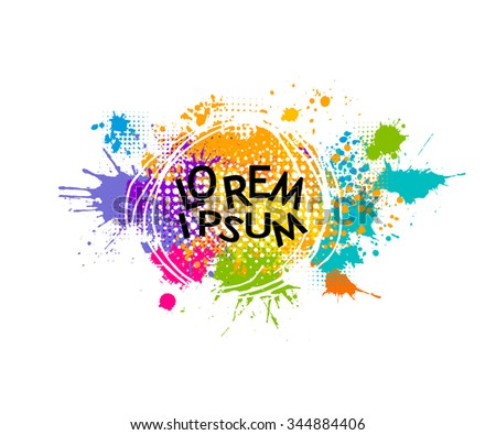 Colored spray paint with a place for your text. Vector - stock vector